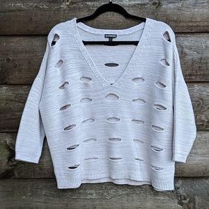 Express Boxy Oversize VNeck Drop Shoulder Sweater